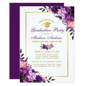 Purple Gold Graduation Invitations