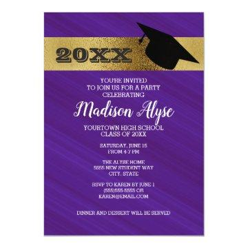 Gold Graduation Cap Invitations