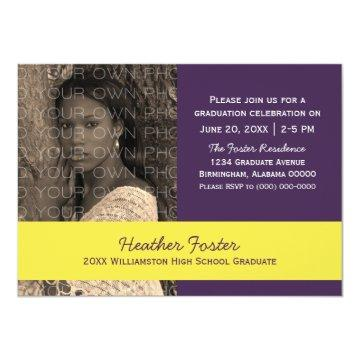 Purple/Yellow School Color Blocks Grad Invite