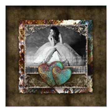 Quinceanera Grad Sweet 16 Vintage Suede Photo Card