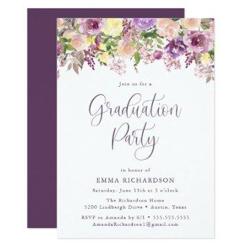Radiant Purple Floral | Graduation Party Invitation