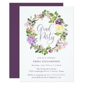 Radiant Purple Floral Wreath | Graduation Party Invitation