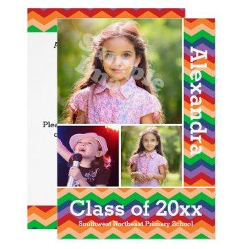 Rainbow Chevron Kid's Photo Graduation Preschool/K
