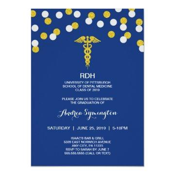 RDH graduation ceremony or party, gold navy