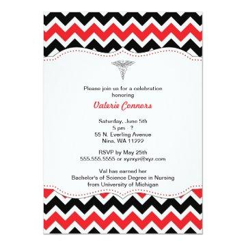 Red and Black Chevron Nurse Graduation Invite RN