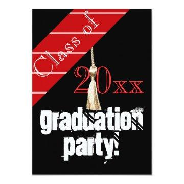 Red and Black graduation party Card