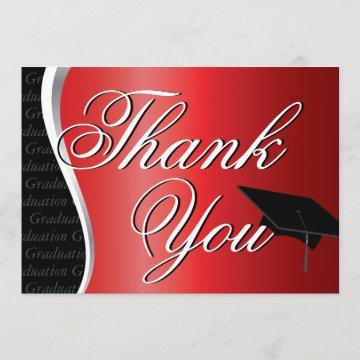 Red and Black Graduation Thank You