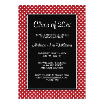 Red and Black Polka Dots Graduation Announcement