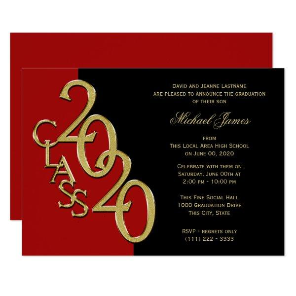 Red and Gold Class of 2020 Grad with Color Option Invitation