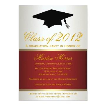 Red and Gold Graduation Invitation