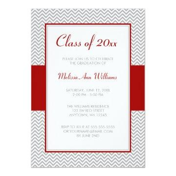 Red and Gray Chevron Graduation Party