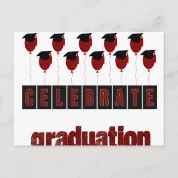 Red Balloons wearing Graduation Caps, Celebrate Gr Announcement Postcard