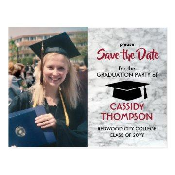 Red Black Marble Photo Graduation Save the Date Postcard