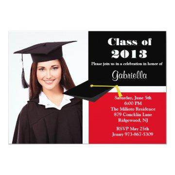 Red & Black Photo Graduation Invitation