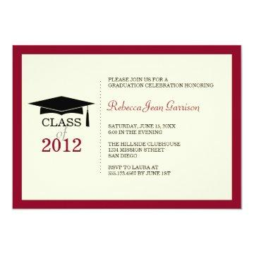 Red border ecru cap tassel graduation announcement