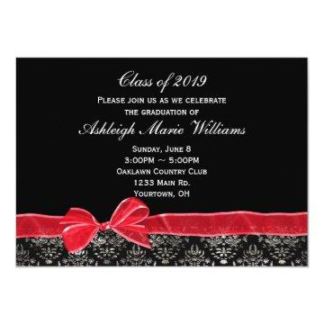 Red Bow with Damask Border for Grad Invitation