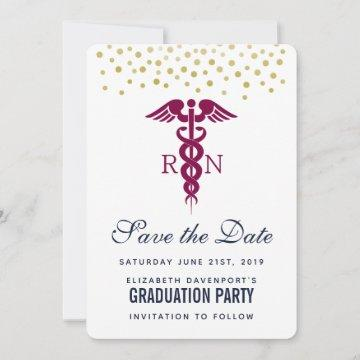 Red Cadaceus RN Graduate Save The Date