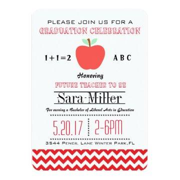 Red Chevron /Apple Teacher Graduation Invitation