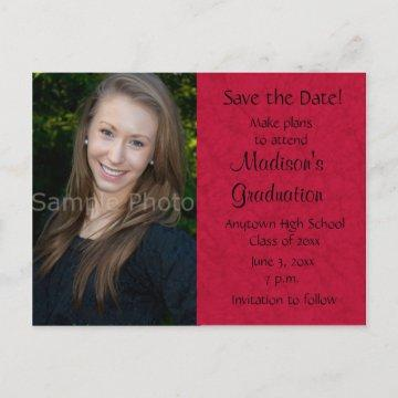 Red Custom Photo Graduation Save the Date Card