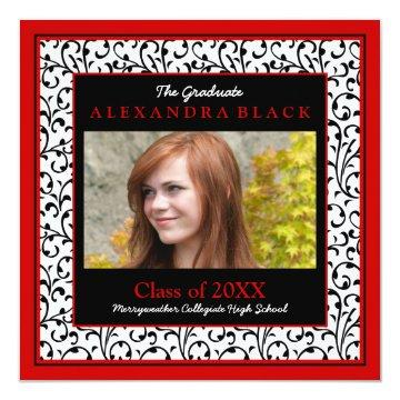 Red Damask Floral Photo Graduation