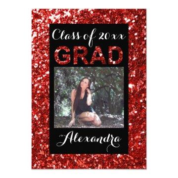 Red Glitter-Look 1 Photo Graduation Card