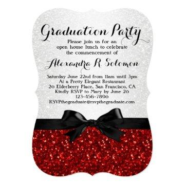 Red Glitter-look Bow Graduation Party