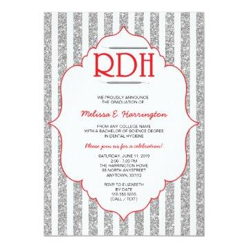 Red Glitter RDH graduation dental hygienist invite