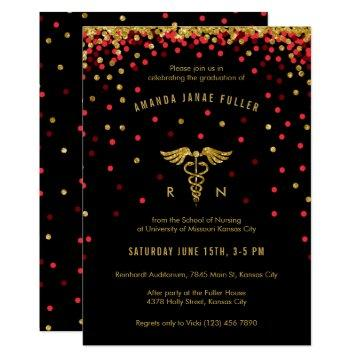 Red & Gold Confetti Nursing Graduation