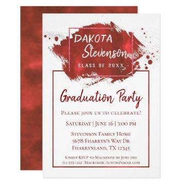 Red Graduation | Paint Splatter Brushstroke Party Invitation