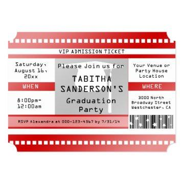 Red Graduation Party Admission Ticket Card