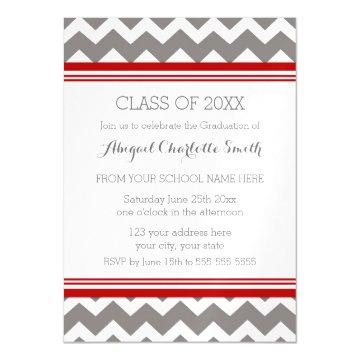 Red Grey Chevron Graduation Party Magnetic Card