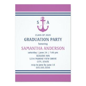 Red Nautical Graduation Party Invitations