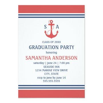 Red Nautical Graduation Party Invites