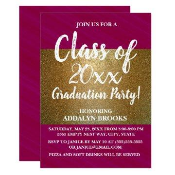 Red Pink Gold Glitter Photo Grad Party
