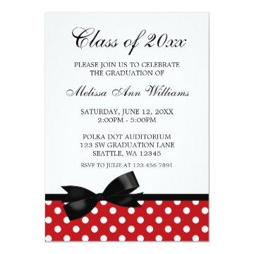 Red Polka Dot Black Bow Graduation Announcement