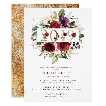 Red Purple Gold Floral 2019 Graduation Party