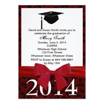 Red Ribbon And Red Leopard Graduation Invitation