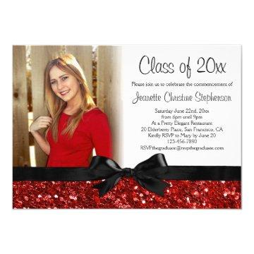Red Sparkle-look Ribbon Bow Photo Graduation Card