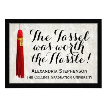Red Tassel Worth Hassle Saying College Graduation Card