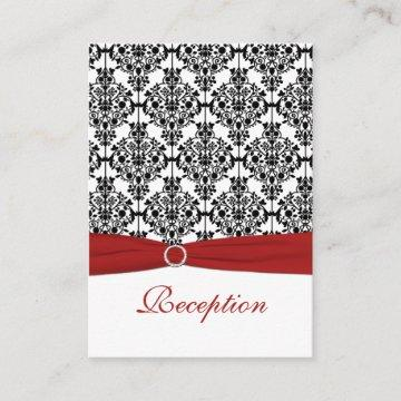 Red, White and Black Damask Reception Card