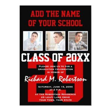 Red, White and Black School Colors Graduation Card