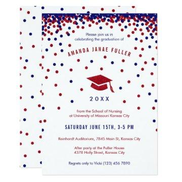 Red, White & Blue Graduation Party Invitation