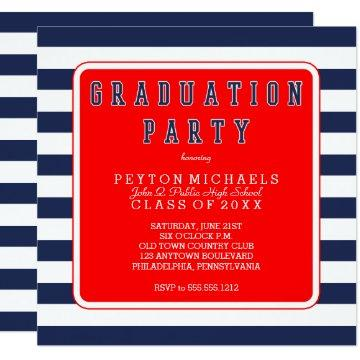 Red White Blue Sporty Striped Graduation Party Card