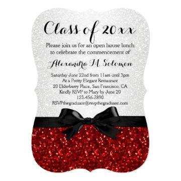 Red/White Sparkly Bow Shaped Graduation