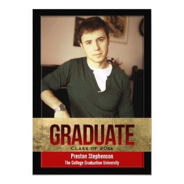 Red with Gold Foil Block Effect Photo Graduation Card