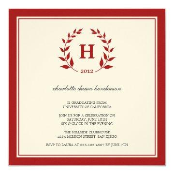 Red wreath monogram graduation class invitation