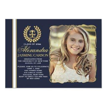 Refined Graduate (Navy) Photo Graduation Invites
