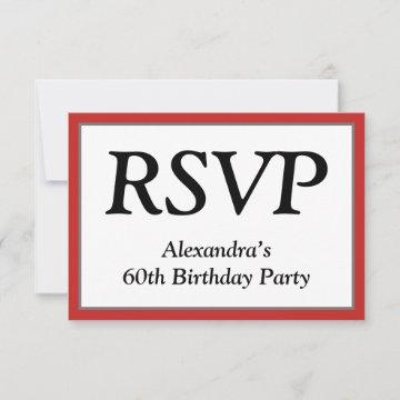 "Respectable, Clean and Elegant ""RSVP"" Card"