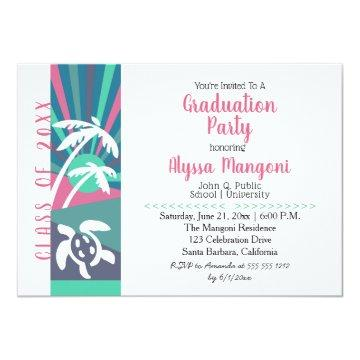 Retro Beach Sunset Graduation Party Card