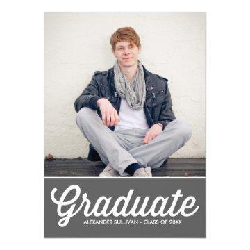 Retro Typography Script | Grey Photo Graduation Card